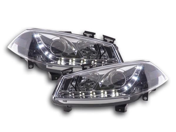Scheinwerfer Set Daylight LED TFL-Optik Ford Fiesta Typ MK6 Bj. 03-07 chrom