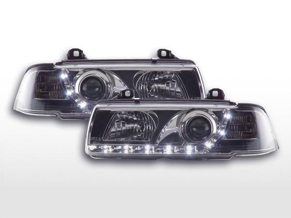 Scheinwerfer Set Daylight LED TFL-Optik BMW 3er Limo Typ E36 92-98 chrom