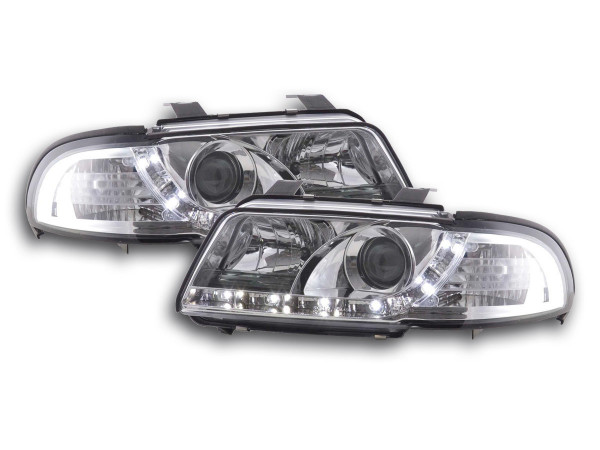 Scheinwerfer Set Daylight LED TFL-Optik Audi A4 Typ B5 Bj. 99-01 chrom