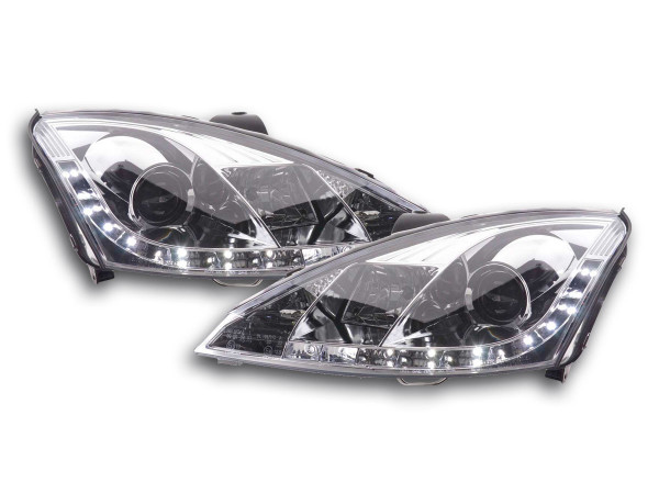 Scheinwerfer Set Daylight LED TFL-Optik Ford Focus 3/4/5-trg. Bj. 01-04 chrom