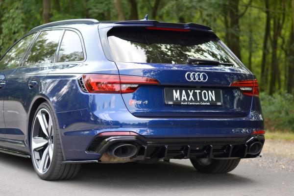 Spoiler CAP Für Audi RS4 B9 Avant Schwarz Hochglanz