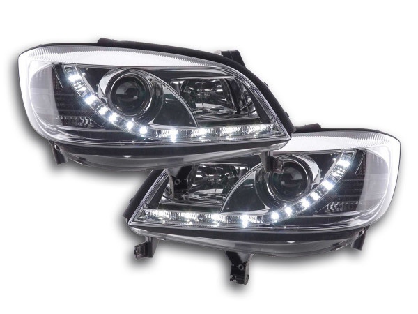 Scheinwerfer Set Daylight LED TFL-Optik Opel Zafira A Bj. 99-04 chrom