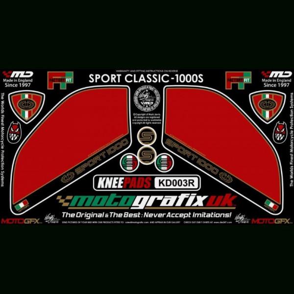 Motografix Tankschutz Knie Pads Ducati Sport Classic 1000 / S KD003R