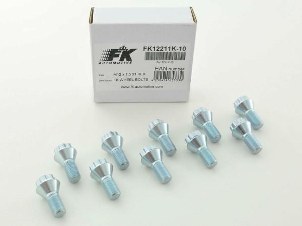 Radschrauben Set (10 Stk.) Schaftlänge 21mm Kegelbund Kurzkopf silber M12x1,5