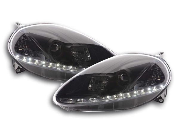 Scheinwerfer Set Daylight LED TFL-Optik Fiat Grande Punto Typ 199 08- schwarz