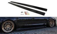 Seitenschweller Ansatz Passend Für Audi S8 D4 FL Schwarz Matt