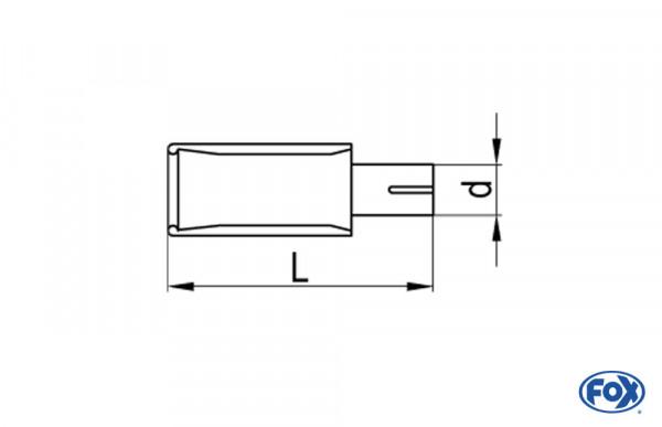Endrohr Links Typ 38 mit Schelle einfach - 160x90mm Links / Oval eingerollt / abgeschrägt / ohne Abs