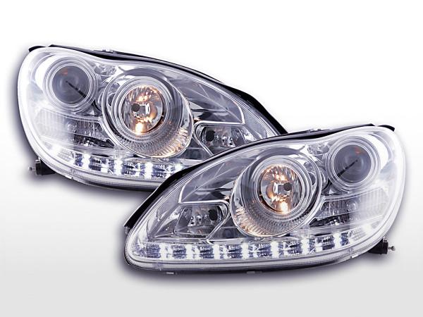 Scheinwerfer Set Daylight LED TFL-Optik Mercedes S-Klasse W220 02-05 chrom