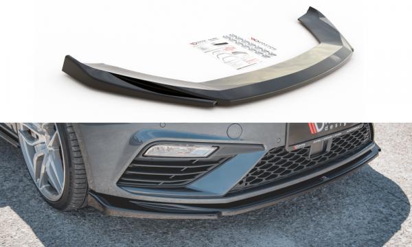 Front Ansatz Passend Für V.5 Seat Leon Cupra / FR Mk3 FL Schwarz Hochglanz