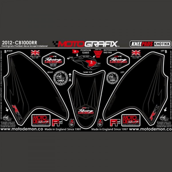 Motografix Tankschutz Knie Pads Honda CBR 1000 RR Fireblade 2012-2016 KH011KK