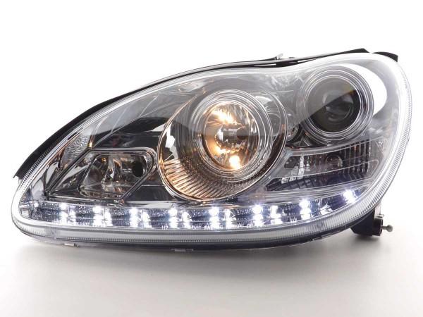 Scheinwerfer Set Daylight LED TFL-Optik Mercedes S-Klasse Typ W220 Bj. 98-05 chrom