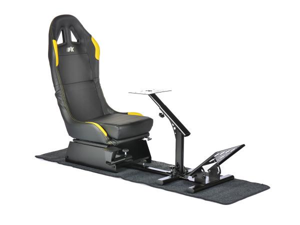 FK Gamesitz Spielsitz Rennsimulator eGaming Seats Suzuka schwarz/gelb mit Teppich