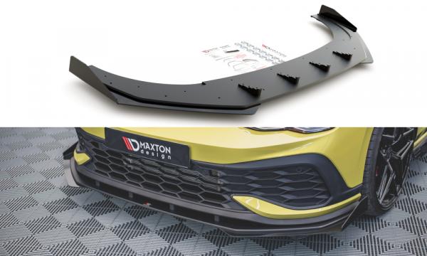 Robuste Racing Front Ansatz Für Passend +Flaps Für Volkswagen Golf 8 GTI Clubsport Schwarz Hochglanz