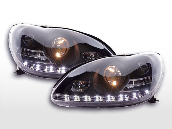Scheinwerfer Set Daylight LED TFL-Optik Mercedes S-Klasse Typ W220 98-05 schwarz