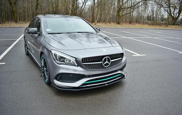 Front Ansatz V.1 Für Mercedes CLA C117 AMG-LINE FACELIFT Schwarz Hochglanz