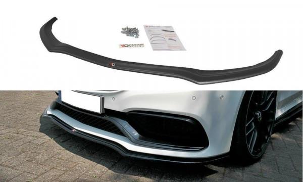 Front Ansatz Passend Für V.1 Mercedes C-Klasse C205 63 AMG Coupe Schwarz Hochglanz