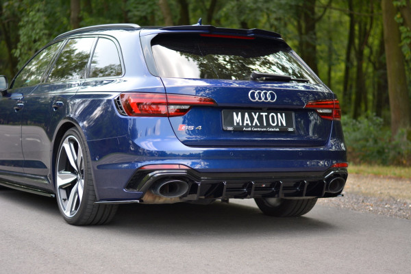 Diffusor Heck Ansatz Für Audi RS4 B9 Avant Schwarz Hochglanz