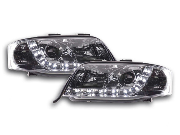 Scheinwerfer Set Daylight LED TFL-Optik Audi A6 Typ 4B Bj. 97-01 chrom