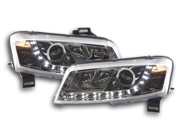 Scheinwerfer Set Daylight LED TFL-Optik Fiat Stilo 3-trg. Typ 192 Bj. 01-07 chrom