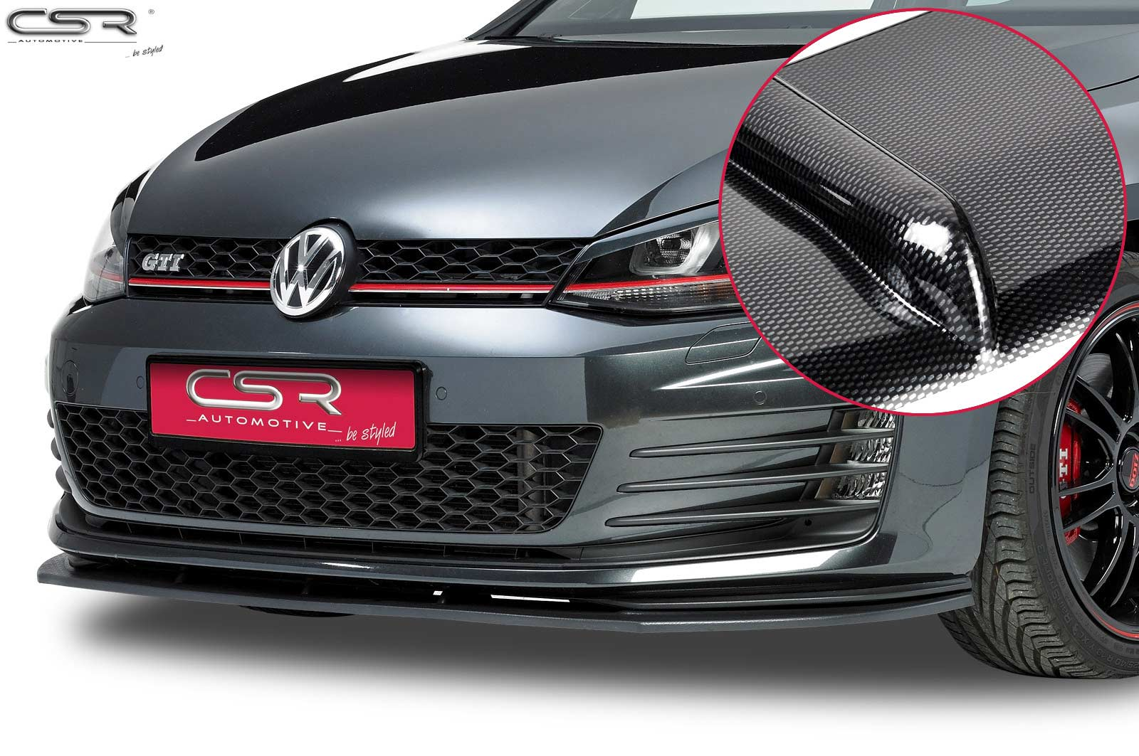 cupspoilerlippe carbon look mit abe f r vw golf 7 gti. Black Bedroom Furniture Sets. Home Design Ideas