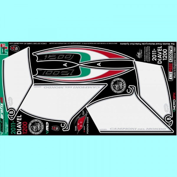 Motografix Tankschutz Knie Pads Ducati DIAVEL 1200 KD007W