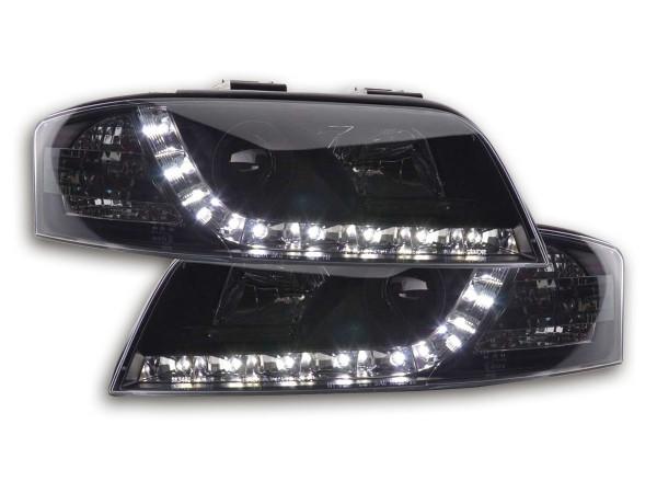 Scheinwerfer Set Daylight LED TFL-Optik Audi A6 Typ 4B Bj. 01-04 schwarz