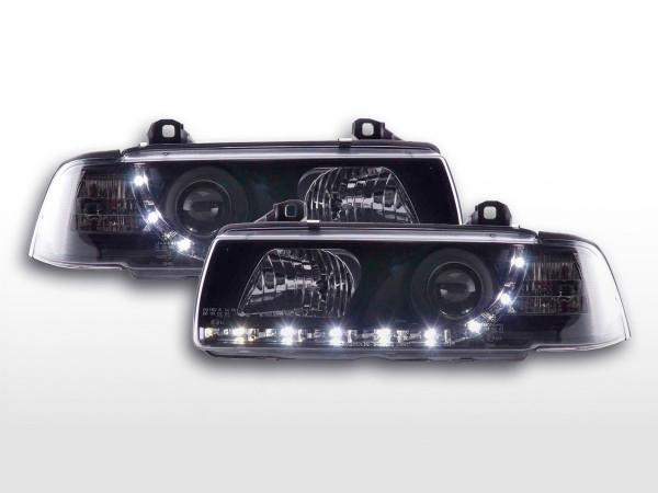 Scheinwerfer Set Daylight LED TFL-Optik BMW 3er Coupe, Cabrio Typ E36 92-98 schwarz