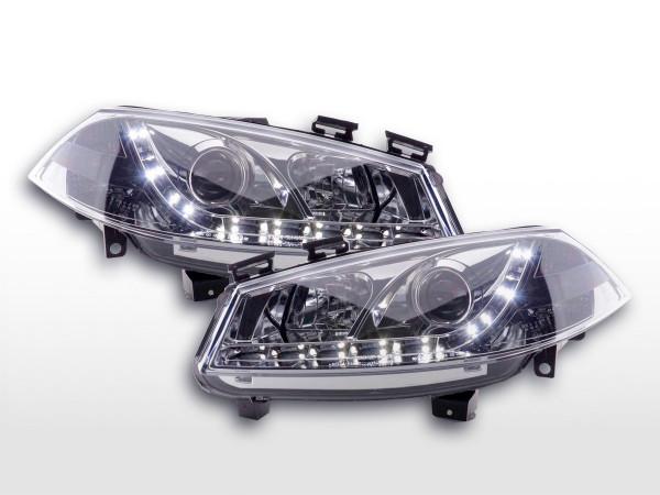 Scheinwerfer Set Daylight LED TFL-Optik Ford Fiesta Typ MK6 03-07 chrom