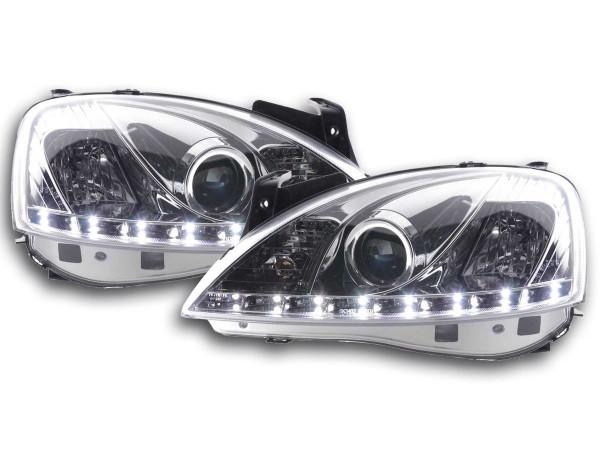 Scheinwerfer Set Daylight LED TFL-Optik Opel Corsa C Bj. 01-06 chrom