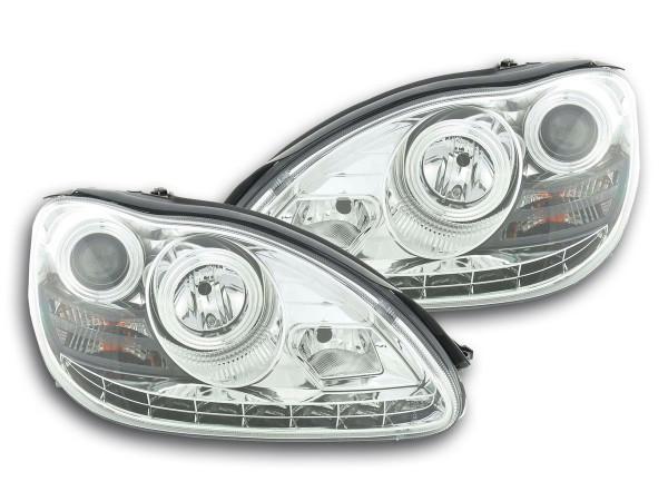 Scheinwerfer Set Daylight LED TFL-Optik Mercedes S-Klasse W220 Bj. 02-05 chrom