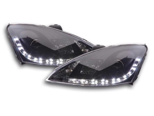 Scheinwerfer Set Daylight LED TFL-Optik Ford Focus 3/4/5-trg. Bj. 98-01 schwarz