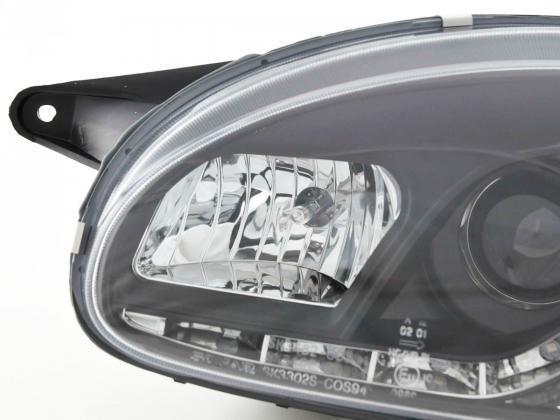 Scheinwerfer Set Daylight LED TFL-Optik Opel Corsa B Bj. 94-00 schwarz