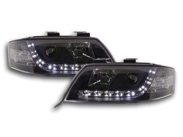 Scheinwerfer Set Daylight LED TFL-Optik Audi A6 Typ 4B Bj. 97-01 schwarz