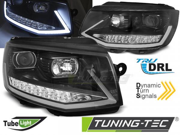 Scheinwerfer Röhrenlicht DRL schwarz chrom dynamische Blinker passend für VW T6 15-19