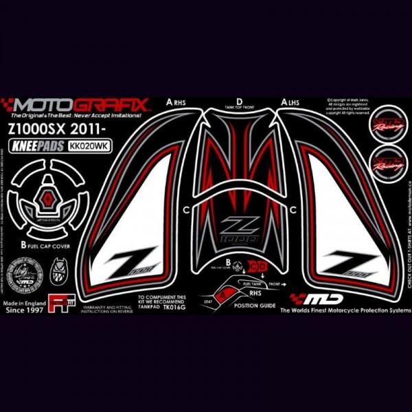 Motografix Tankschutz Knie Pads KAWASAKI Z1000SX 2011-2016 KK020WK