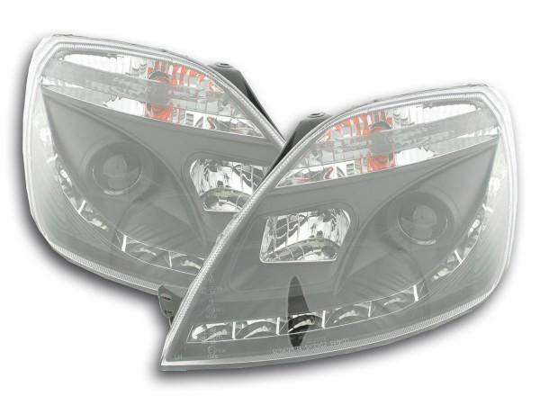 Scheinwerfer Set Daylight LED TFL-Optik Ford Fiesta Typ MK6 Bj. 03-07 schwarz