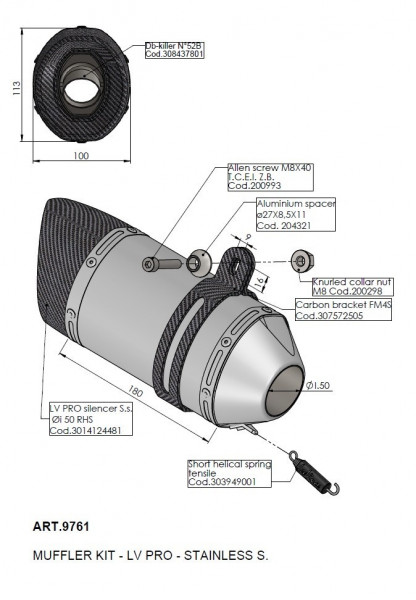 LeoVince Universalschalldämpfer Kit LV PRO Edelstahl 50mm