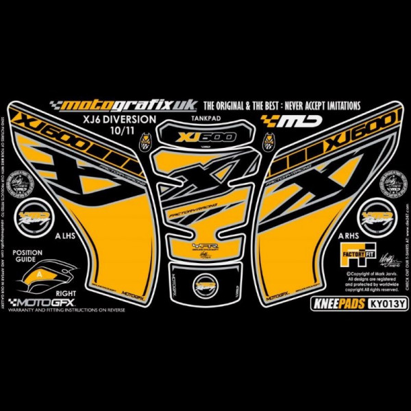Motografix Tankschutz Knie Pads YAMAHA XJ6 DIVERSION 2010- KY013Y