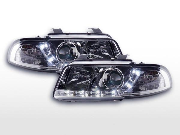 Scheinwerfer Set Daylight LED TFL-Optik Audi A4 Typ B5 95-99 chrom