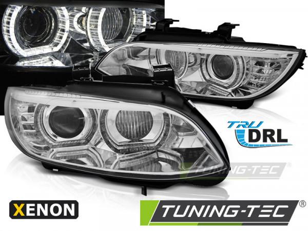 Xenon-Scheinwerfer Angel Eyes LED chrom passend für BMW E92 / e93 06-10