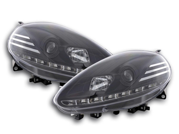 Scheinwerfer Set Daylight LED Tagfahrlicht Fiat Punto Evo Bj. 09- schwarz