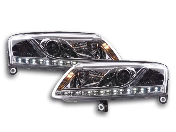 Scheinwerfer Set Daylight LED TFL-Optik Audi A6 Typ 4F 04-08 chrom