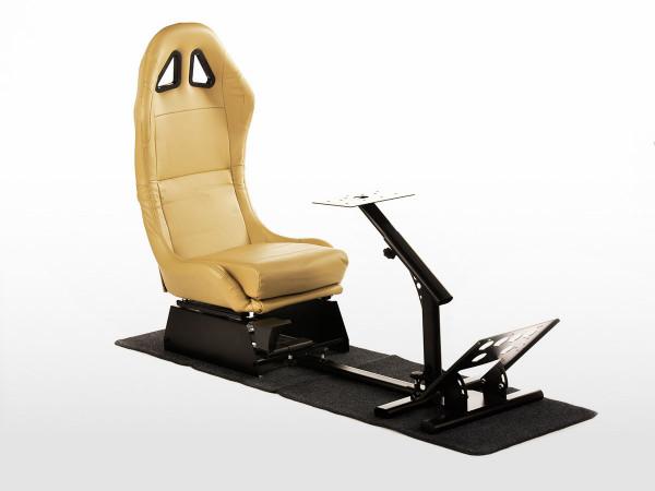 FK Gamesitz Spielsitz Rennsimulator eGaming Seats Suzuka schwarz/blau Carbonlook mit Teppich