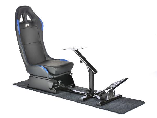 FK Gamesitz Spielsitz Rennsimulator eGaming Seats Suzuka schwarz/blau mit Teppich
