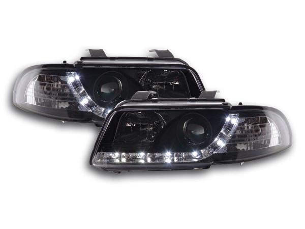 Scheinwerfer Set Daylight LED TFL-Optik Audi A4 Typ B5 Bj. 95-99 schwarz