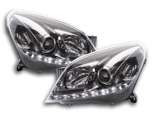 Scheinwerfer Set Daylight LED TFL-Optik Opel Astra H chrom