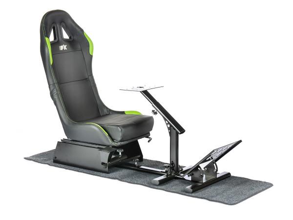 FK Gamesitz Spielsitz Rennsimulator eGaming Seats Suzuka schwarz/grün mit Teppich