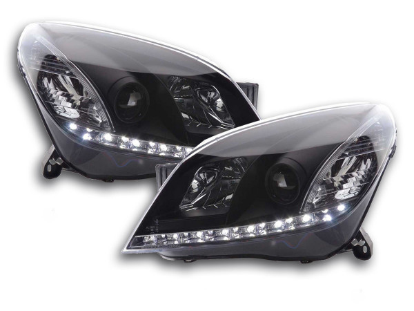 Scheinwerfer Set Daylight LED TFL-Optik Opel Astra H schwarz