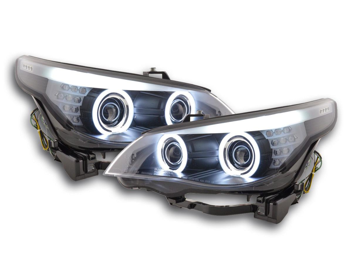 scheinwerfer set xenon angel eyes ccfl bmw 5er e60 e61 bj. Black Bedroom Furniture Sets. Home Design Ideas