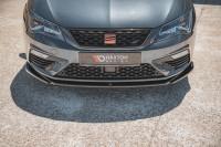 Front Ansatz V.5 Für Seat Leon Cupra / FR Mk3 FL Schwarz Matt